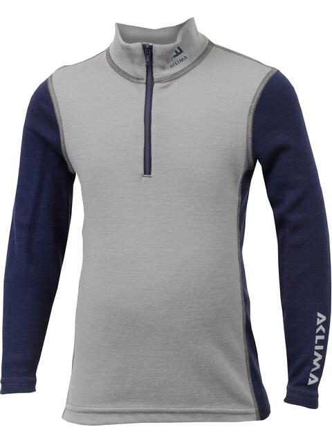 Aclima WarmWool Mock Neck Shirt Children Frost Grey/Peacoat